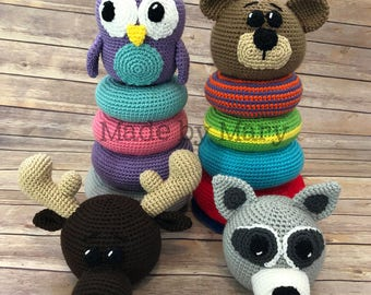 PDF PATTERN: Ring Stacker Woodland Animals **Crochet Pattern Only, Not Actual Doll!** Crochet Toy