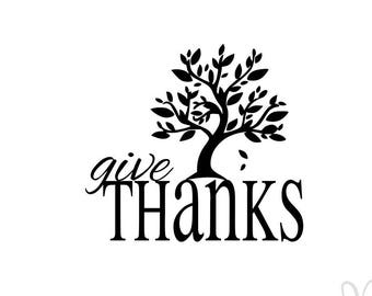 Give Thanks with Fall/Autumn Tree - Instant Download File - svg / jpg / Studio3 / PDF