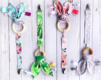 Natural Wood Teething Ring and Matching Pacifier Clip Set