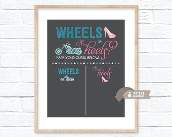 Wheels or Heels Gender Reveal Guess Sign - Chalkboard Inspired Poster - Boy or Girl - Baby Shower - 8x10, 16x20, 18x24 Sizes