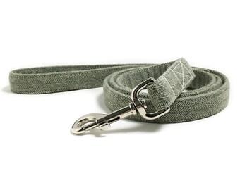 Dog Leash - Dog Lead - Olive Dog Leash - Herringbone Dog Leash - Leash, Lead - 4 Foot Leash - 5 Foot Leash - 6 Foot Leash - Tweed Dog Leash