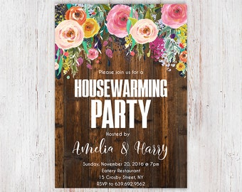 House Warming Party Invitation, Home Sweet Home, Rustic Housewarming Invitation, Printable Housewarming Invitation, Printable Invite 7