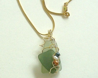 Light and Dark Green Sea Glass Pendant Wire Wrapped with Freshwater Pearls by Carol Wilson of Jet'adorn