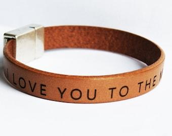 Men Leather bracelet personalized - Custom Mens Bracelet - Husband gift - Custom Text Quote Fiance Gift  Mens Jewelry  Personalized Bracelet