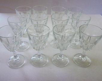 Wine Glasses Set of 12, Vintage Set Wine or Water Glasses