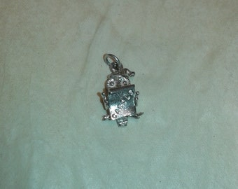 Solid sterling silver carol singing owl bird animal with nighcap bracelet charm necklace pendant - ideal for Advent / Christmas