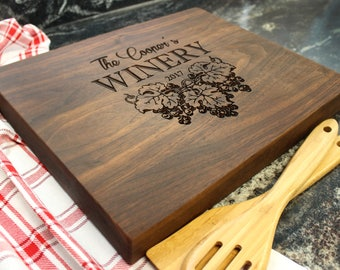 "15x12"" Personalized Chopping Block - Engraved Edge Grain, Custom Butcher Block, Housewarming, Wedding, Engagement, Hostess Gift (020)"