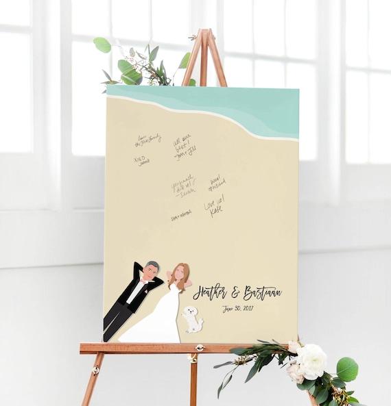 Beach Wedding Guest Book Alternative Guest Book for