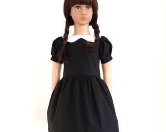 Wednesday's dress - Peter pan collar dress - black and white
