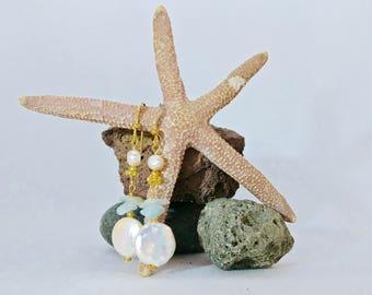 Freshwater pearl and aquamarine mermaid earrings – March birthstone