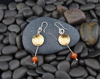 Copper Earrings with Carnelian Bead