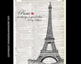 "PARIS EIFFEL TOWER France art print wall decor poster Audrey Hepburn Quote ""Paris is Always a Good Idea"" vintage dictionary book page 8x10"