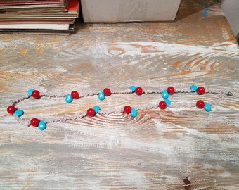 teal and red necklace