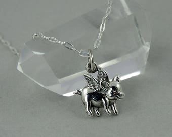 Flying Pig Necklace Sterling Silver Charm Necklace farmhouse decor whimsical and funny jewelry pig with wings winged pig gift