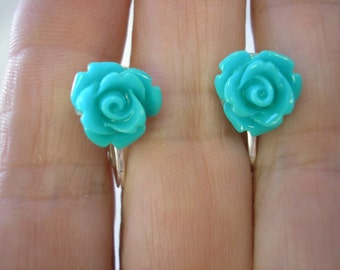 """Play Earring - Clip or Pierced - Rosebud - Turquoise - 3/8"""""""