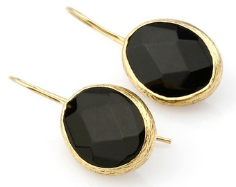 Onyx Oval Earrings with Gold Coated Silver Settings, Black oval dangling earrings, black onyx earrings