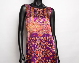 UNIQUE model / short silk dress print/flowers/without sleeves/Pink and orange/creation handcrafted and original woman/T 36