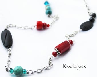 Maori necklace turquoise coral and volcano stone