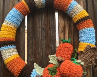 Autumn Wreath Crochet Fall Decor Door Decoration