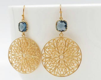 Sapphire Blue Glass Crystal, Gold Lace Filigree Earrings, Large Gold Dangle Earrings, Gold Mesh Round Circle Earrings, Gift For Her