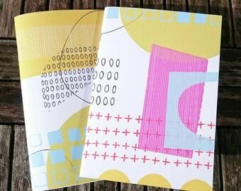 2 Handmade A5 Notebooks - Abstract Set