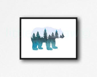 Bear Print Woodland Animal Forest Bear Watercolor Painting Art Print Home Decor Bear Art Grizzly Bear Decor Wall Art Animal Print Unframed