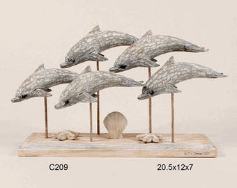 School of Dolphins - Hand Carved Wood