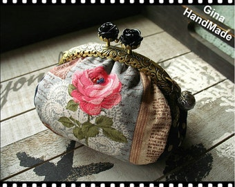 Black rose  coin purse / Metal frame purse /  Coin Wallet / Pouch / Kiss lock frame bag -GinaHandMade