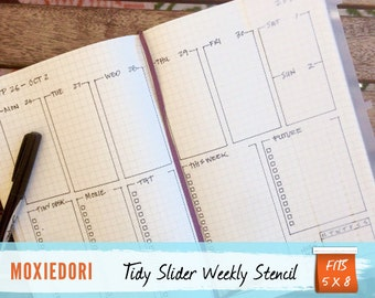 Tidy Slider Bullet Point Journal Stencil, Fits 5X8 journals such as Moleskine and Leuchtturm