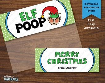 Elf Poop Bag Topper / Printable Christmas Novelty Treat Bag Labels / INSTANT DOWNLOAD digital file