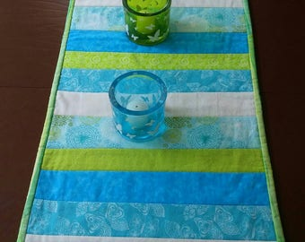 Aqua, Quilted Table Runner, Striped Table Runner, Blue Green, Table Centerpiece, Table Topper, Table Cloth, Dining Table Runner, Table Decor