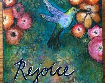 Rejoice-hummingbird mixed media painting on cradled wood