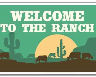 Welcome To The Ranch Novelty Sign animals cowboy scenery farmgift
