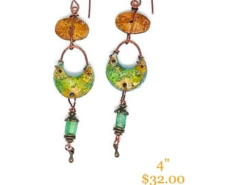 Handmade Clay Wire Wrapped Earrings