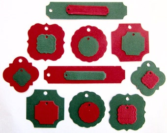 Lot of twenty decorative labels in two colors