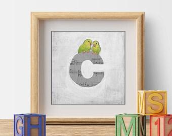 ABC Birds, Nursery Decor, Children's Decor, Kid's Room Art, Alphabet Art, Cute Bird Prints, Letter C, Wall Letters, Initials, ABC Letters