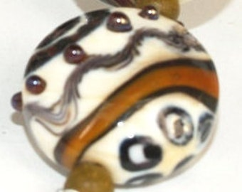 Brown, ivory, gold lampwork beads set of 6 lampwork beads SRA glass beads MTO, glass beads lampwork glass beads ,jewelry supplies