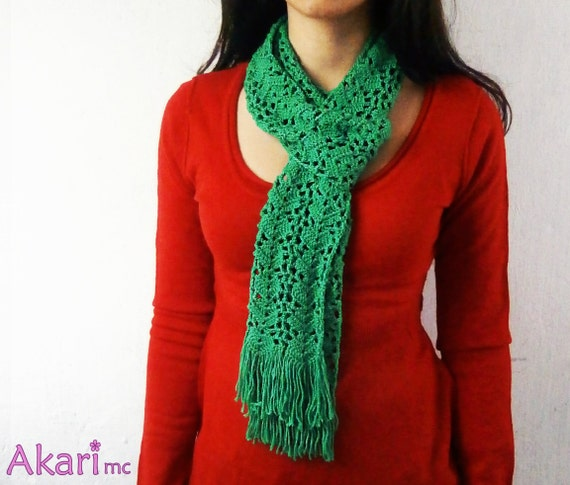 Long Lacy Scarf With Fringes Pdf Crochet Pattern Lightweight