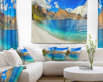 Designart Lake Wakatipu Landscape Photography Wall Tapestry, Wall Art Fit for Wall Hanging, Dorm, Home Decor