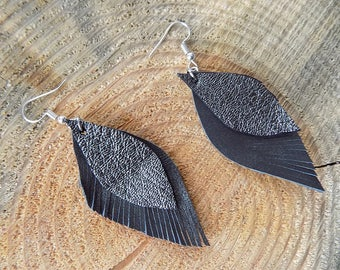 Black leather earrings, genuine leather earrings, long earrings, leather jewelry, leaf earrings, lightweight earrings, fringe earrings