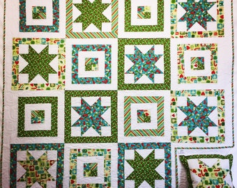 In Stock: Christmas Joy Lap Quilt with Free Pillow Case 16030