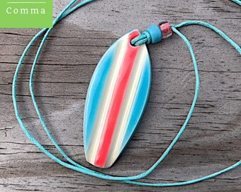 Surfboard charm, handmade ceramic surf pendant, white orange blue, clay surf jewelry, surfer girl, vintage retro style surfer tag