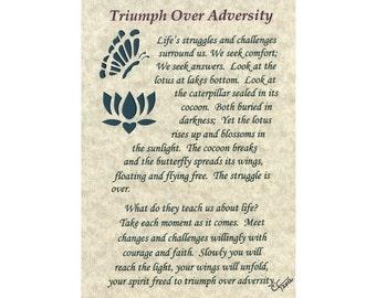 Triumph Over Adversity Verse with paper cut design - 5x7 unframed