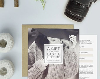 Photography Gift Card Template, Photography Studio Gift Certificate Template - GCT105D