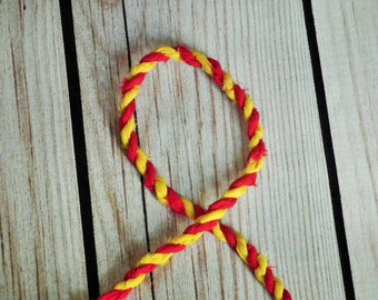 RED and YELLOW handmade fabric twine, upcycled chunky cord, gift wrap string, Thanksgiving garland - by the yard, made to order