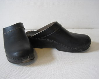 CLOG MASTER Mules Clogs Authentic Shoes Size: 41 Women's Leather Black Made in Sweden VINTAGE Retro A1069