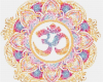 E-Pattern Pastel Om Symbol Cross Stitch Pattern