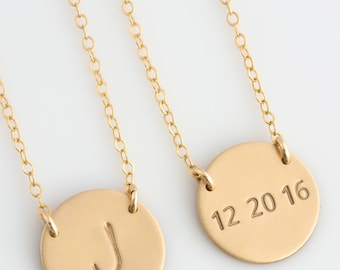 Personalized Gold Disc Necklace, Initial Disk Necklace, Minimalist Necklace,Sterling Silver, Gold Jewelry,Gift for Her,LEILAjewelryshop,N300