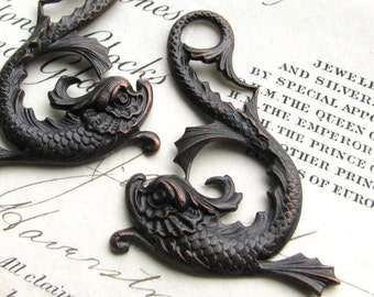 Magical koi fish pair, 45mm black antiqued brass pendant, left right (2 Asian dolphin drop) sea serpent, dark magic, mythical creature