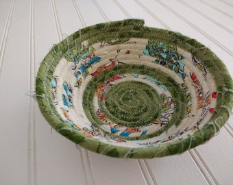 "6"" Coiled Fabric Bowl - Green and Cream Stripes"